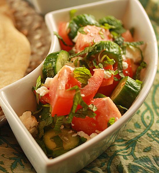 Tomato, cucumber and mint salad