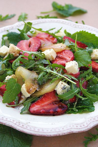 Strawberry, Caramelized Pear & Blue Cheese Salad