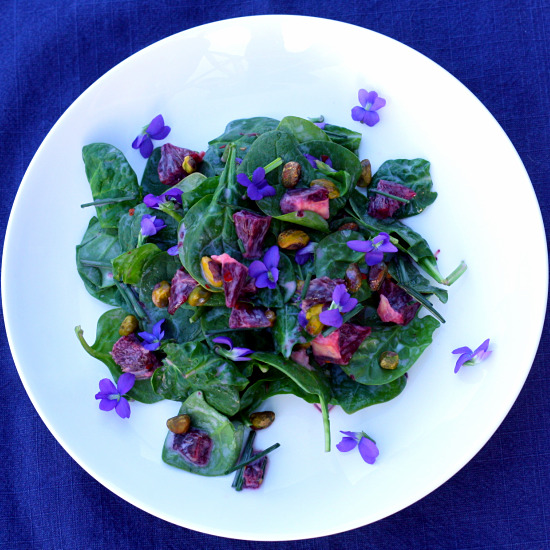 with the salad compose salad on plate s and garnish with the violets .