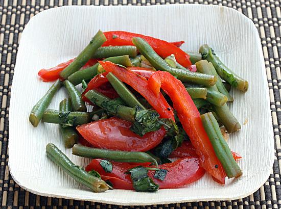 Thai Bean Salad on Palm Plate