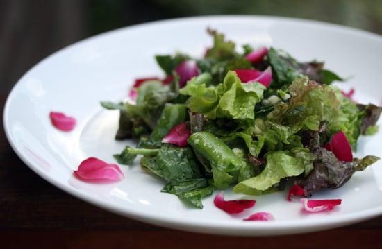 pea and rose petal salad 1