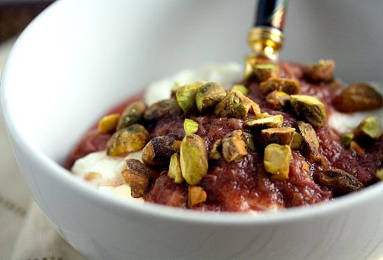 thick yogurt with rhubarb sauce