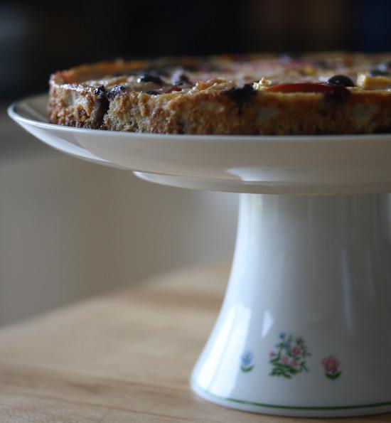 pie on cake plate