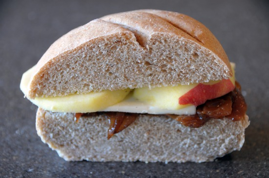Cheddar and apple sandwich with red onion confit