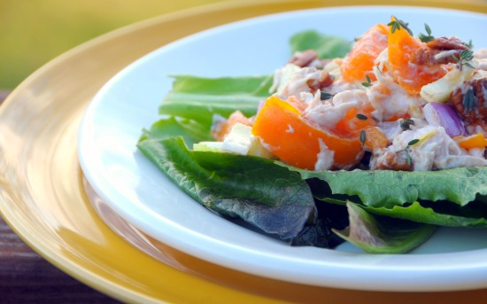 chicken salad with persimmons