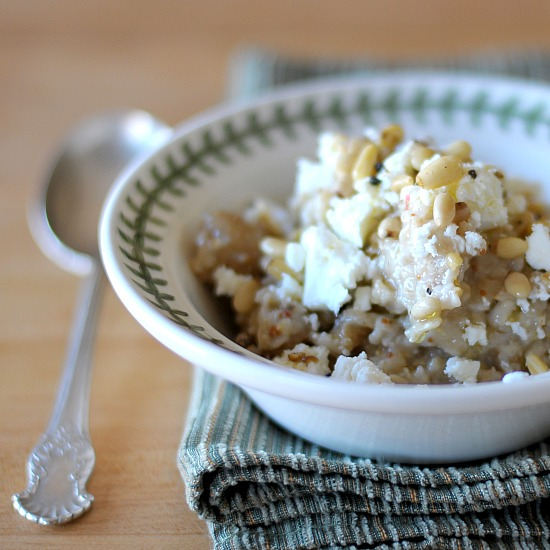 Oatmeal with Figs, Pine Nuts, and Feta