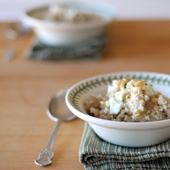 Savory Oatmeal with figs, pine nuts, and feta
