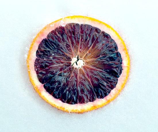 blood orange in snow