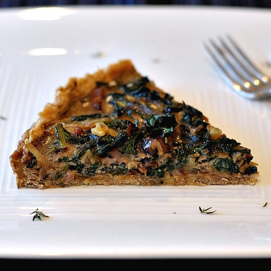 bacon, chard, and walnut tart image