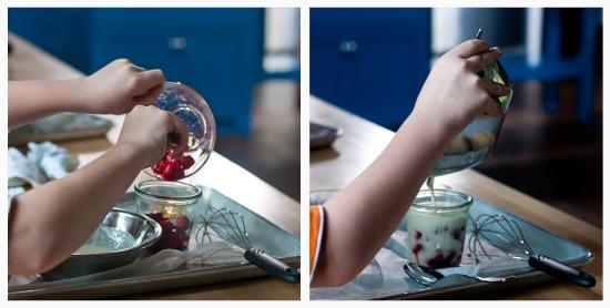 strawberries in yogurt