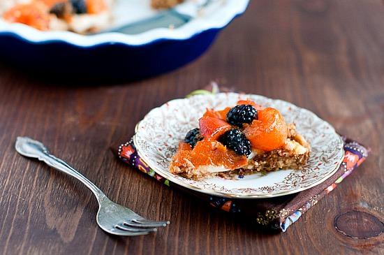 raw vegan apricot blackberry pie