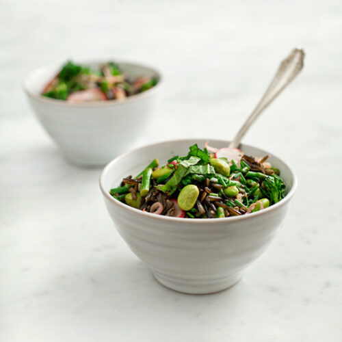 black rice and spring vegetables