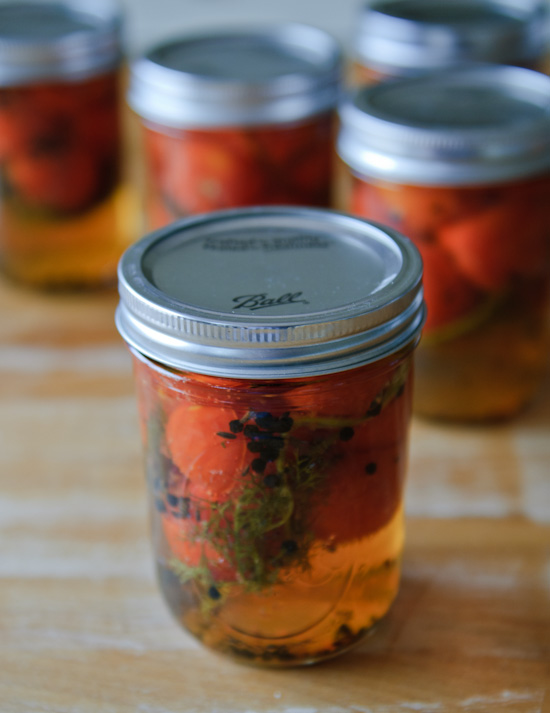 pickled cherry tomatoes in a ball jar