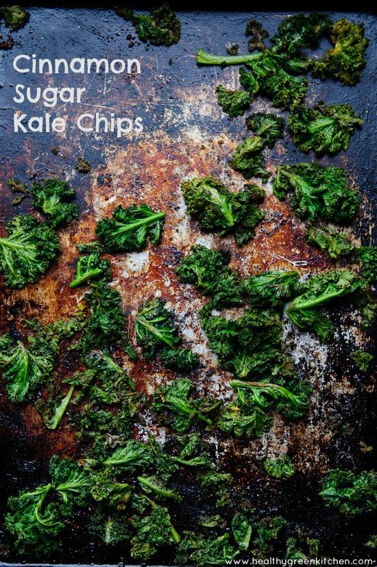 Cinnamon Sugar Kale Chips from www.healthygreenkitchen.com