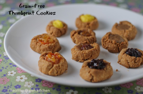grain-free thumbprint cookies | www.healthygreenkitchen.com