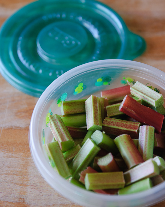 cut rhubarb in container | healthy green kitchen