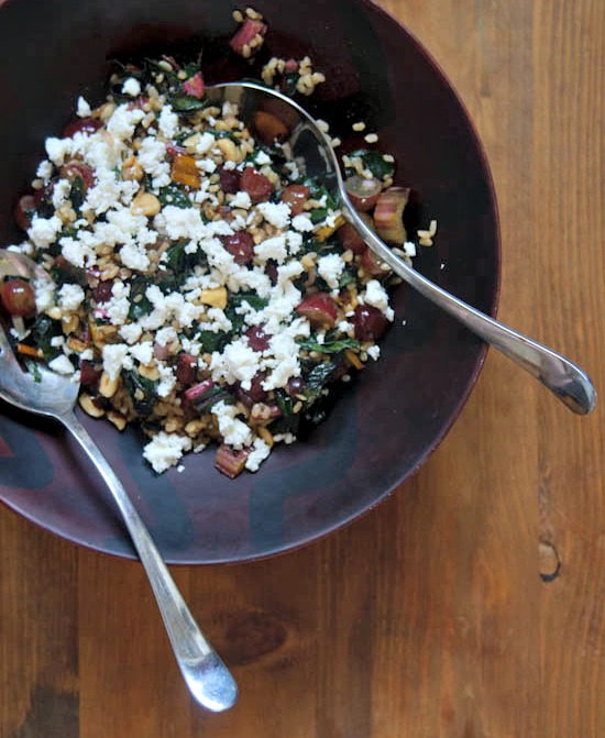 brown rice salad with chard and grapes