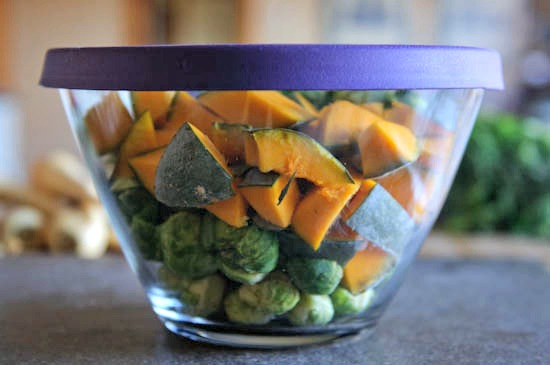 B sprouts and kabocha in glass