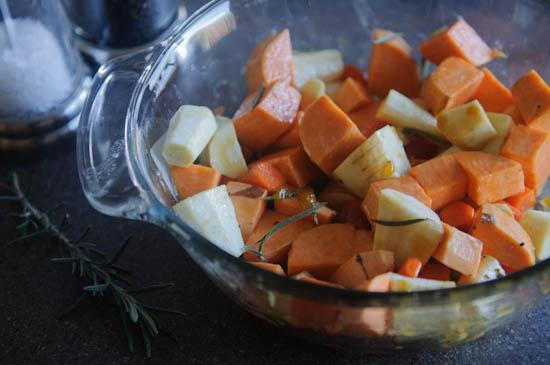 honey veggies prep
