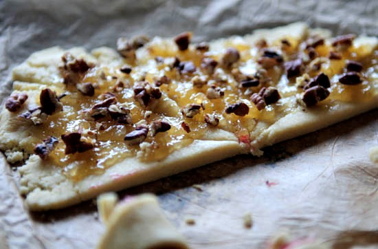 pear preserves + walnuts on dough