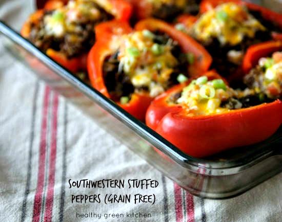 grain-free stuffed peppers from @winnieab//www.healthygreenkitchen.com