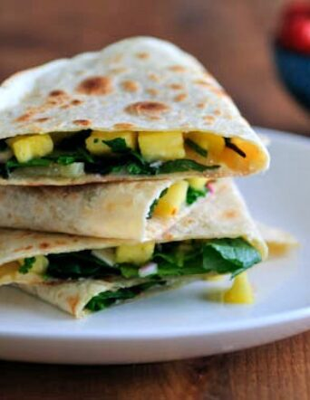 Power Up Greens Quesadilla with Manchego and Pineapple Salsa