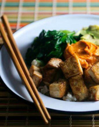 Jasmine Rice Bowl with Pan-Fried Tofu and Peanut-Red Curry Sauce
