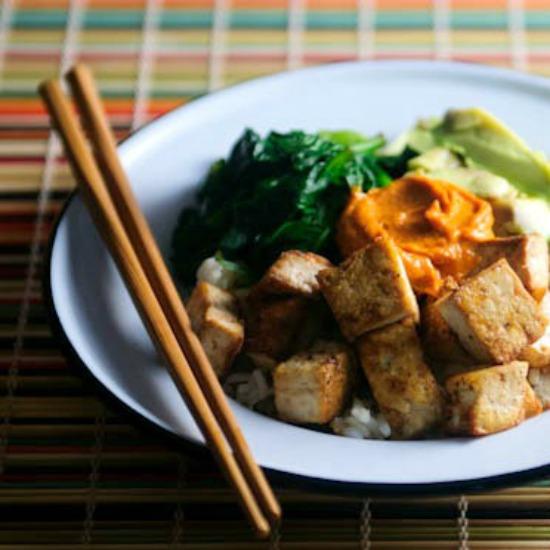 Jasmine Rice Bowl with Tofu from @winnieab www.healthygreenkitchen.com //#CreateAStir