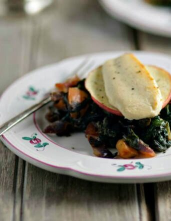 Bacon-Wilted Greens with Warm Goat Cheese