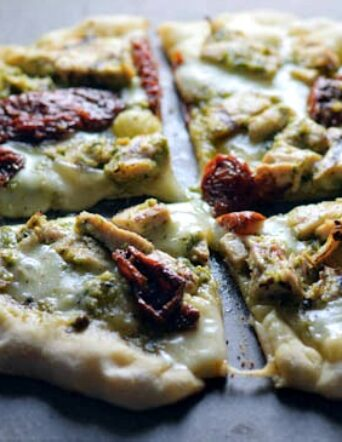 Grilled Pesto Chicken Pizza with Fontina